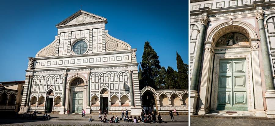 Santa Maria Novella church facade and door entrance detail
