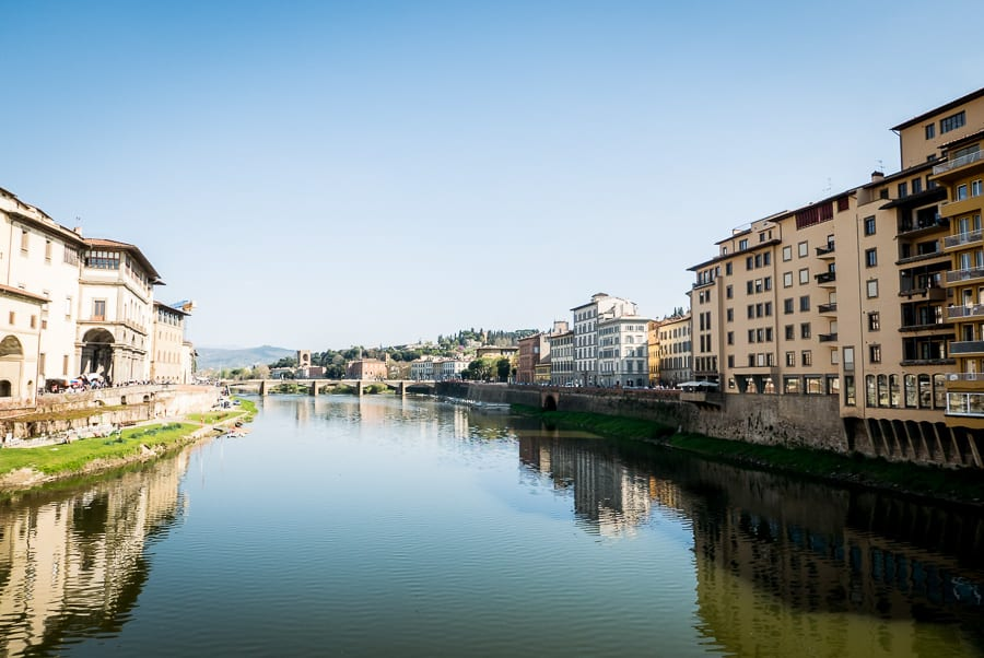 Sight of florence from ponte vecchio river arno
