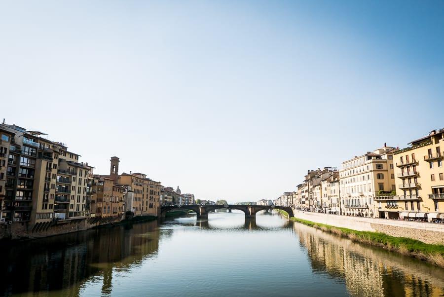 Ponte santa trinità river arno from ponte vecchio florence