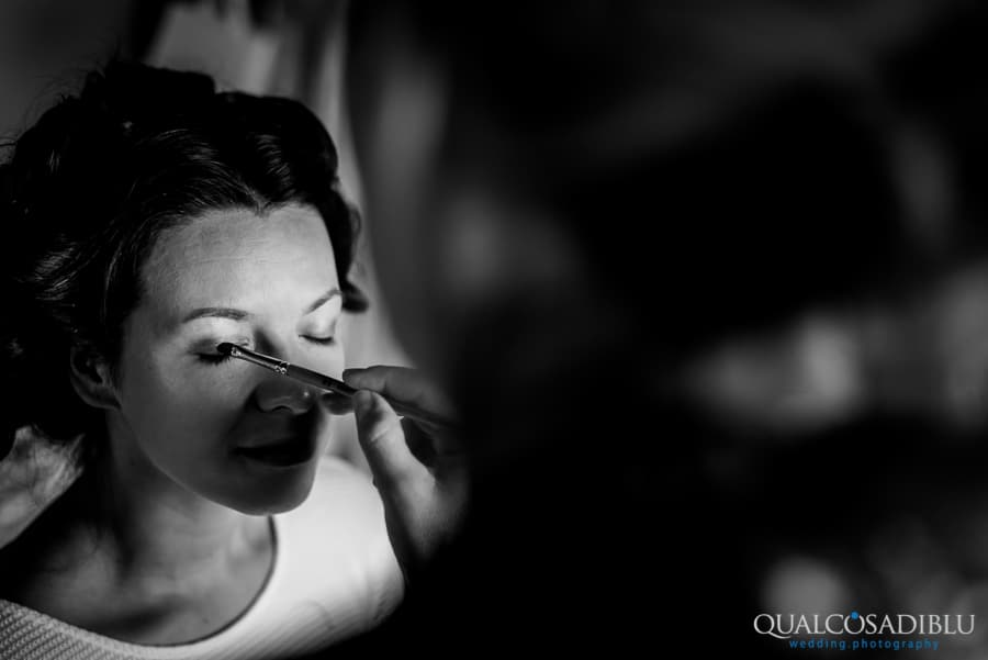 bride make up eye getting ready black and white