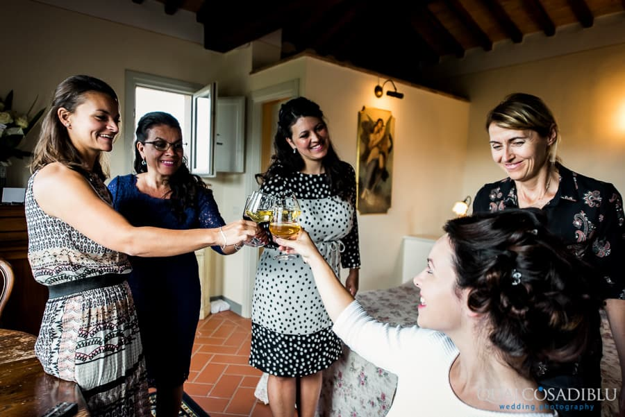 bride and braidsmais toast with wine