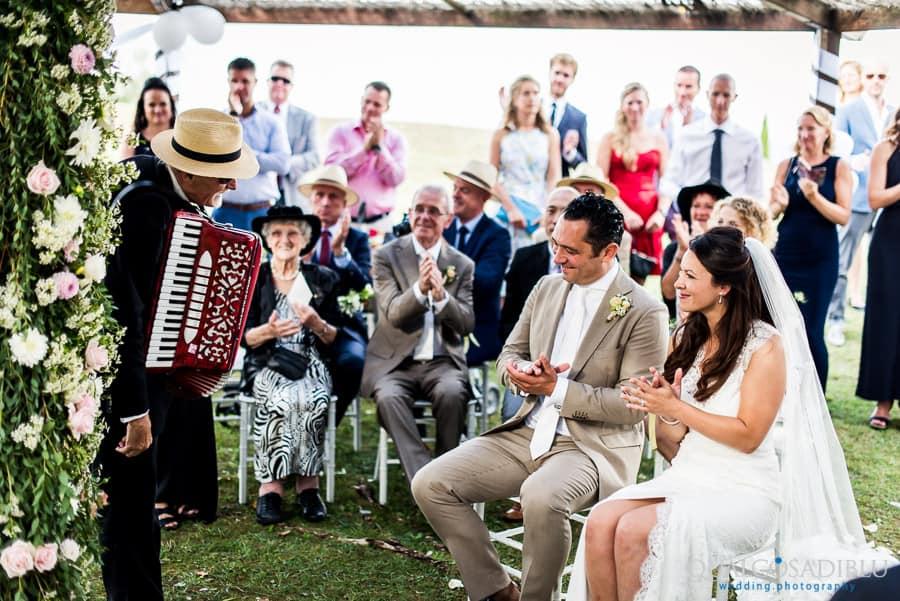 accordion musicians congratulate bride and groom ceremony wedding