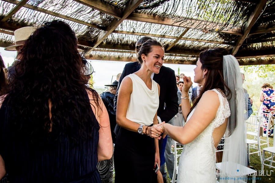 guest congratulate with the bride