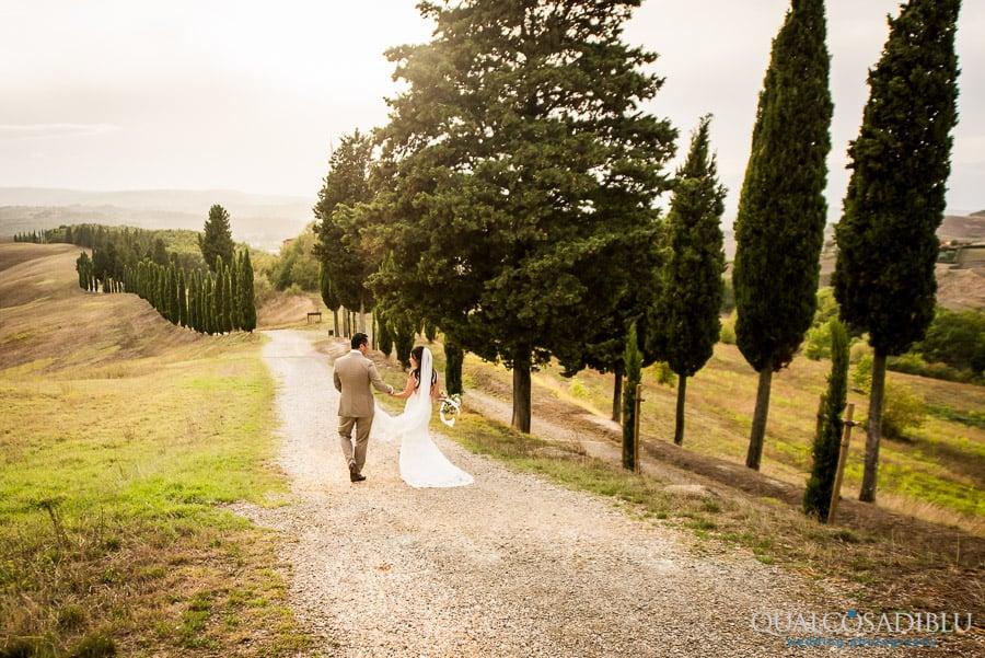 bride and groom walking in a cypresses street