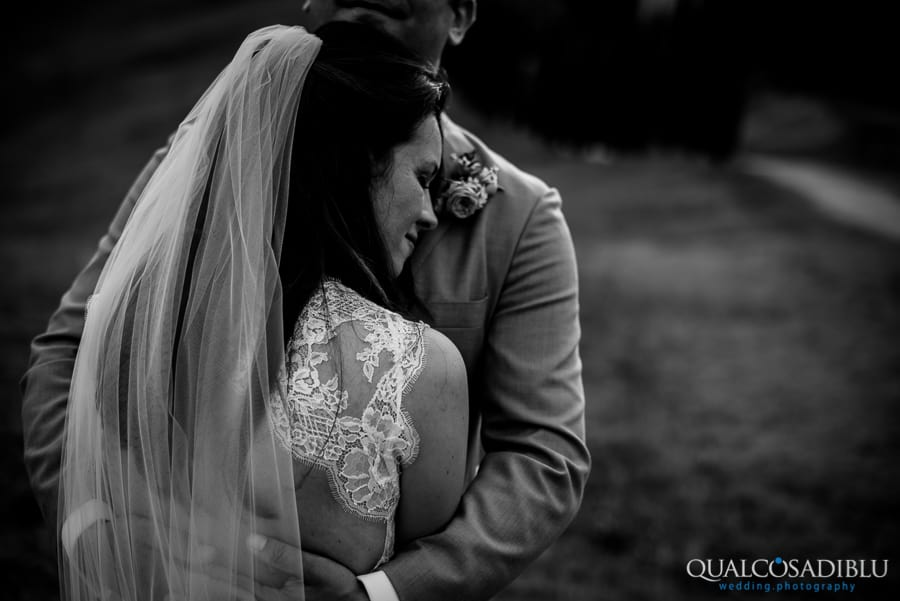 bride romantic hug black and white