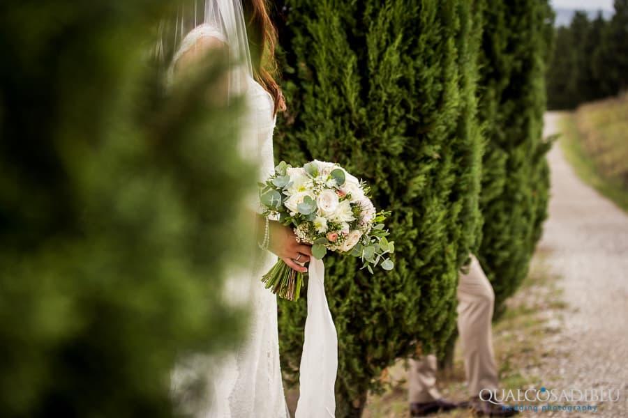 bride bouquet detail cypresses