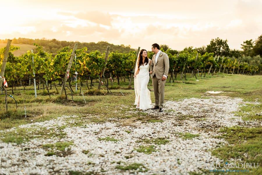 wedding couple walking in the vineyard