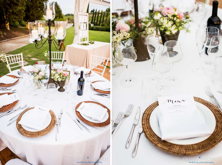 detail dressed tables wedding at borgo della meliana