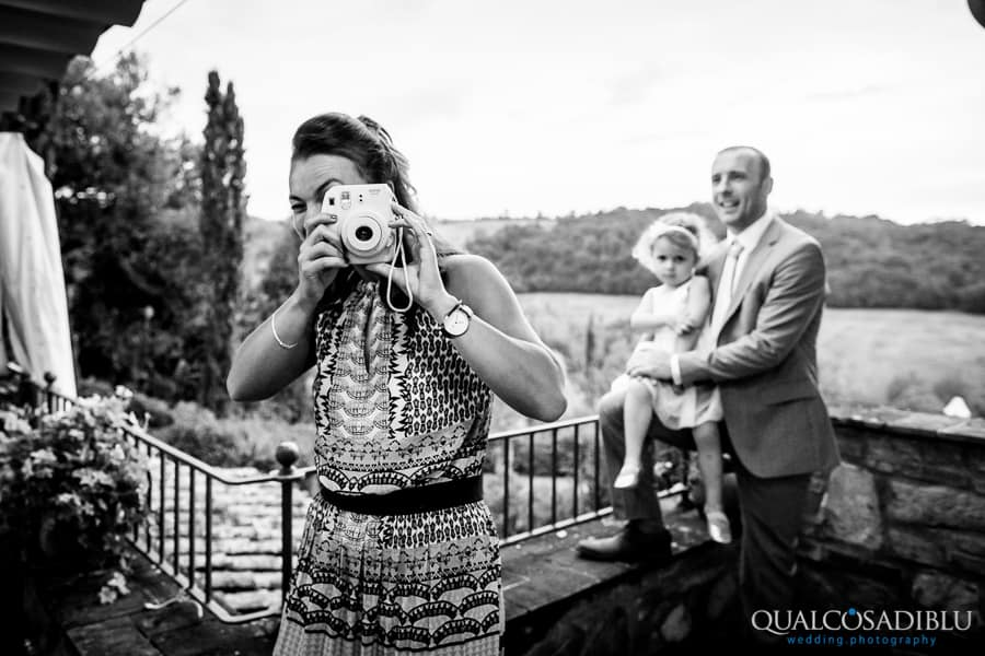 photo bomb guest wedding black and white