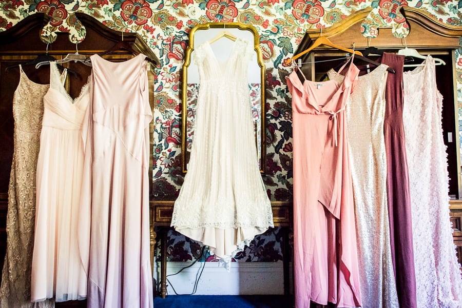wedding getting ready pink dresses