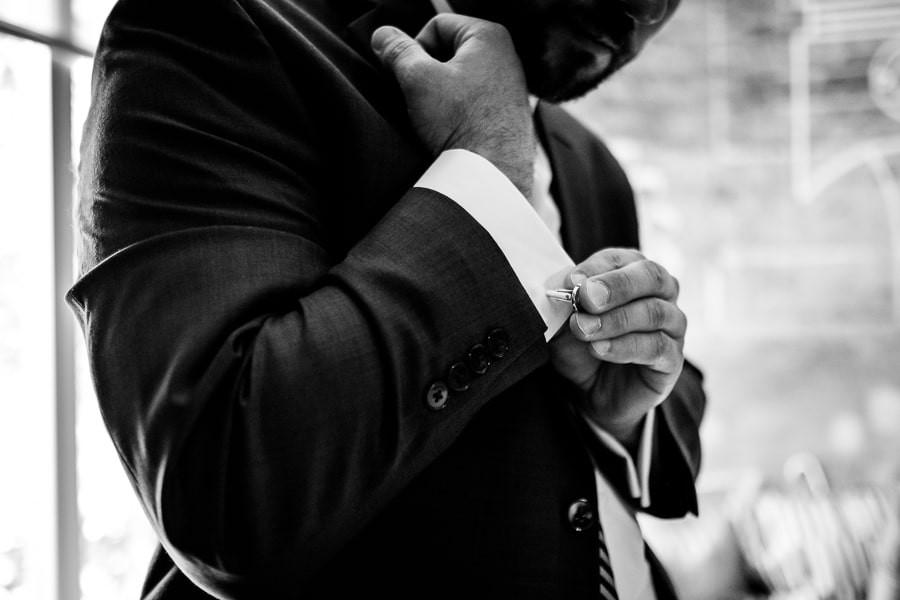 wedding getting ready groom cuff link details black and white