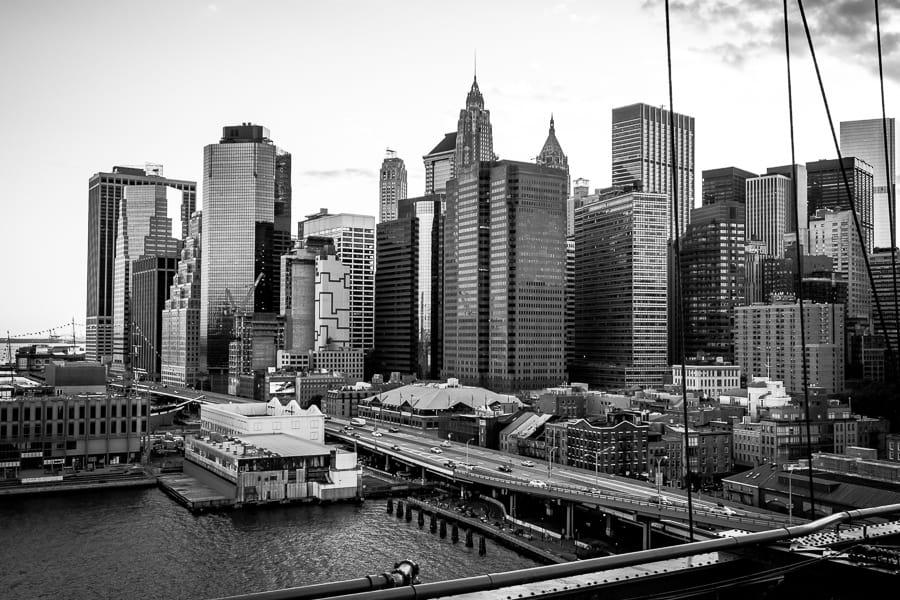 brooklyn bridge skyline sunset one world trade centre
