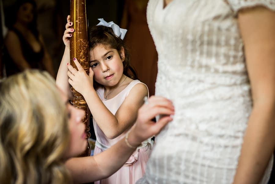 wedding getting ready bride dress child admiration ct