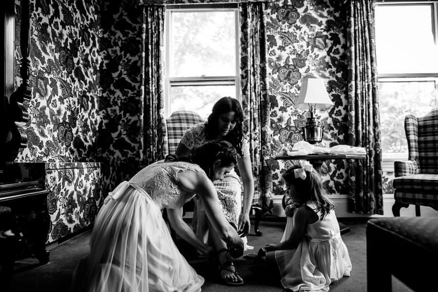 wedding getting ready bride shoes bridesmaid west lane inn