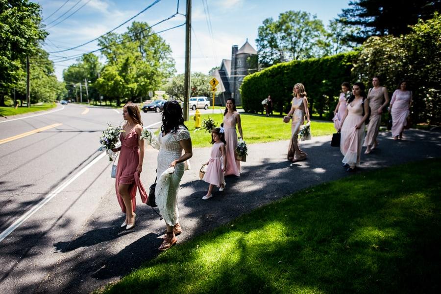 wedding bridal party bride walking ridgefiled ct