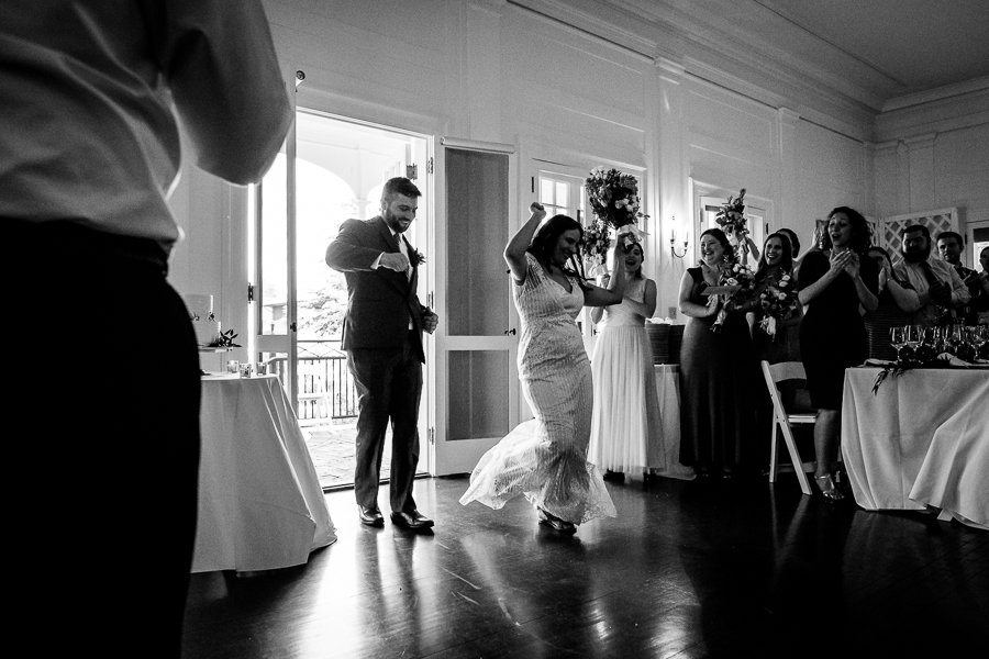 bride groom entrance dancing black and white