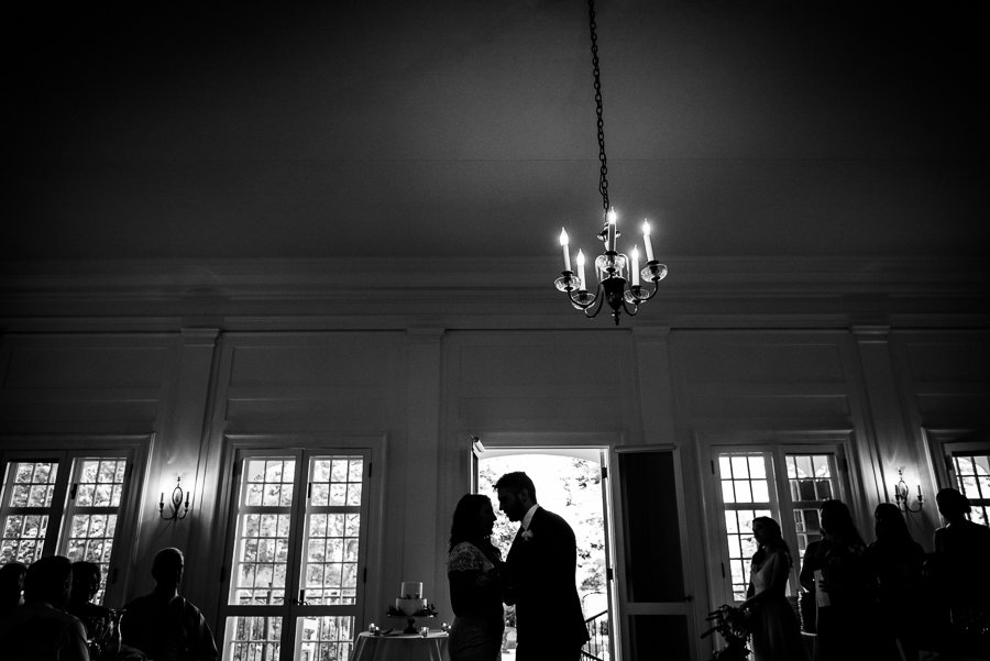 wedding silhouette black and white bride groom first dance