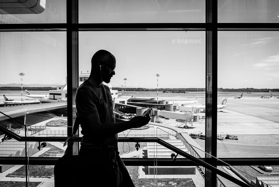 Photographer at Milan Malpensa Airport