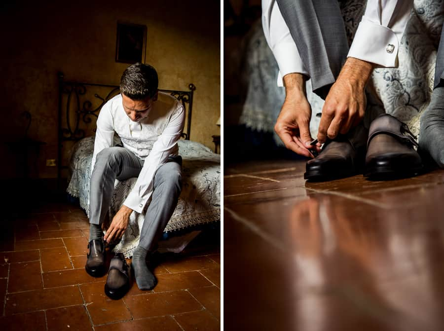 groom dressing his grey shoes