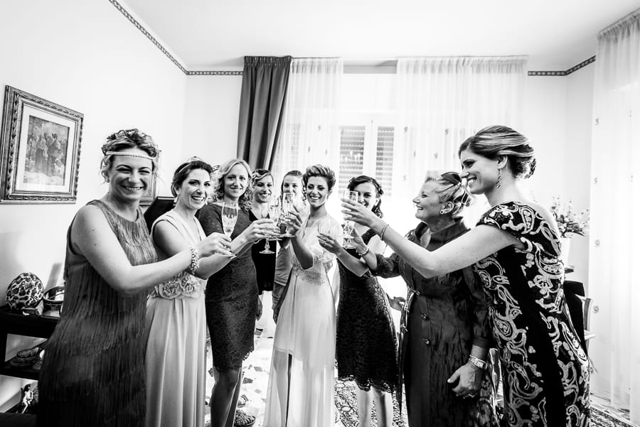 toast bridesmaid and bride
