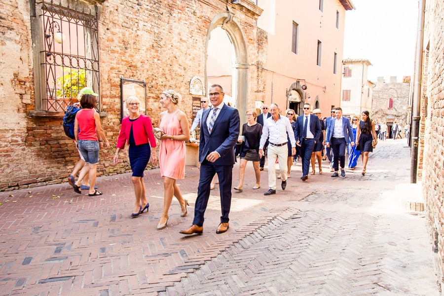 wedding guests walking to the ceremony certaldo