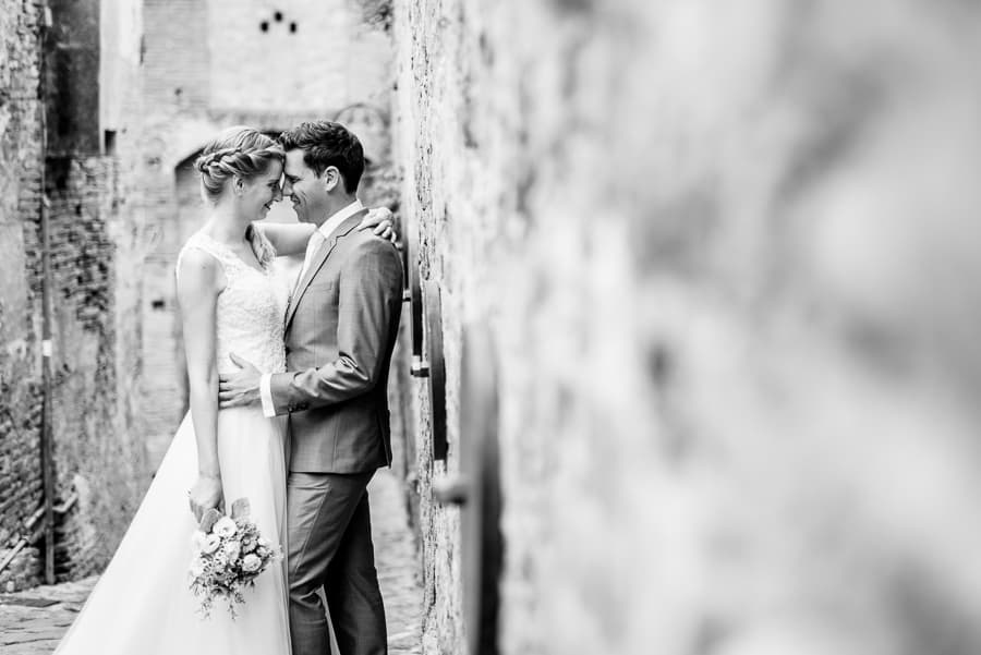 romantic wedding couple embraced certaldo