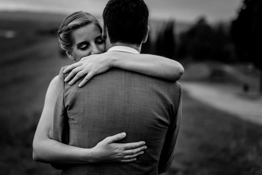 romantic hug bride groom black and white