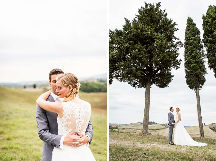 bride groom embraced tuscany cypresses