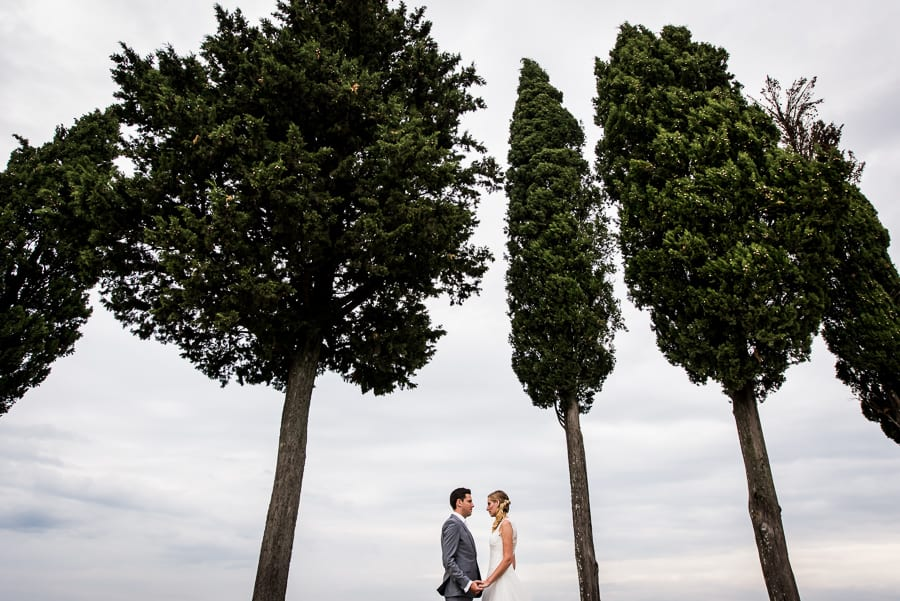 bride groom holding their hands between tuscan cypresses