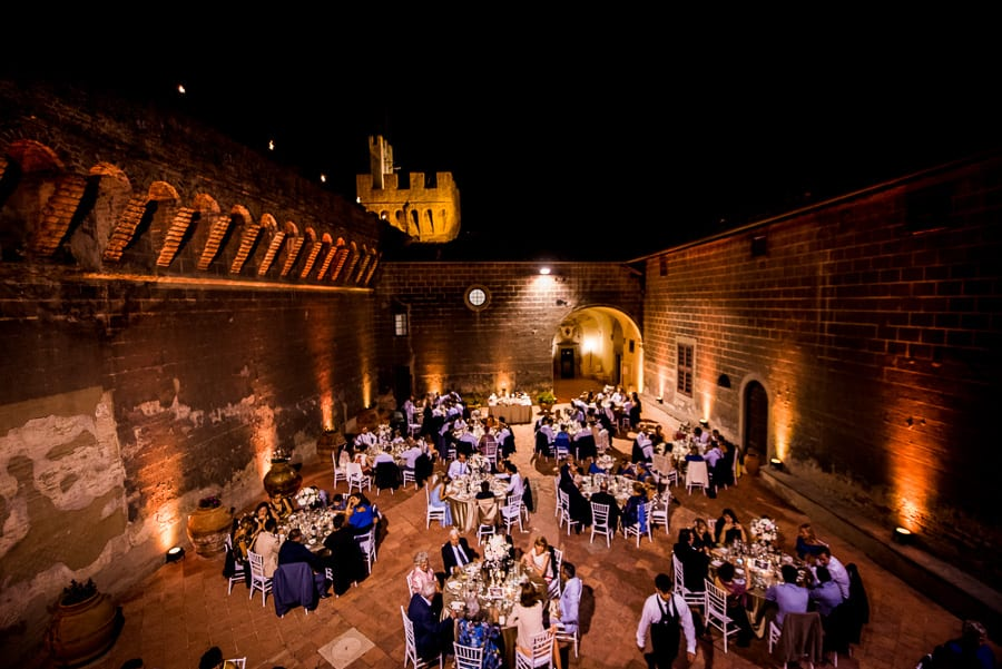 castle oliveto wedding dressed table night lights view from the top