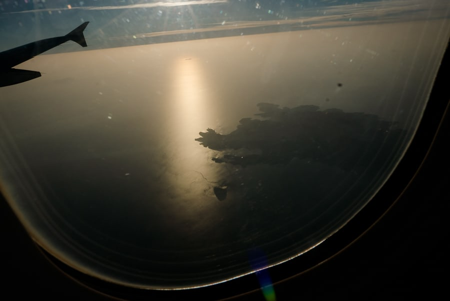 View of Santorini from airplane window