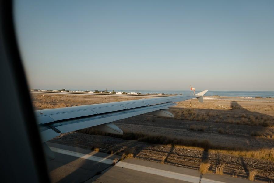 Plane landing in Santorini