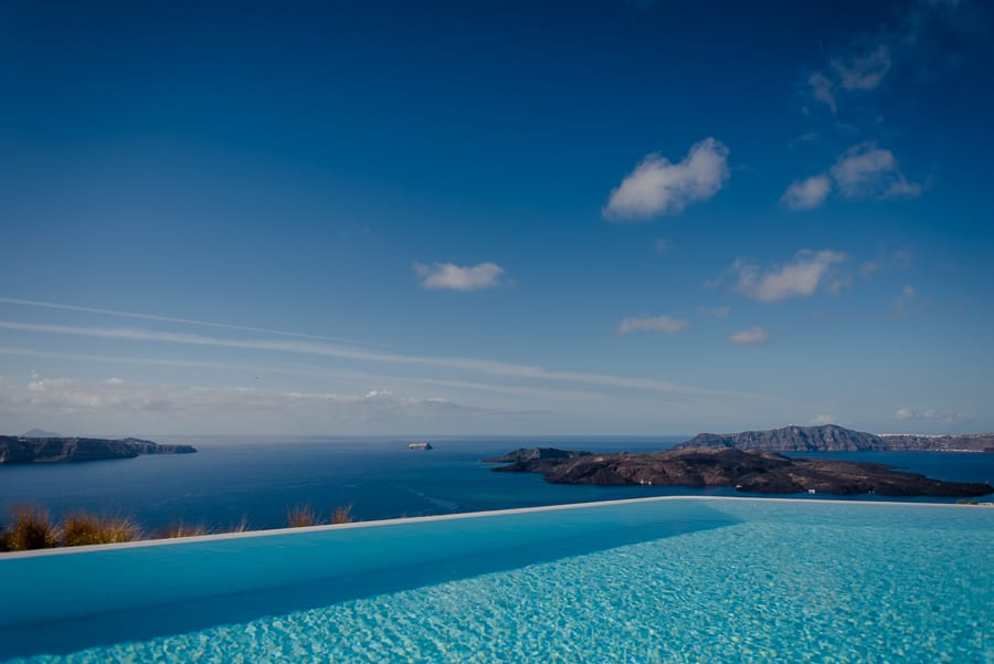 swimming pool caldera view santorini eros