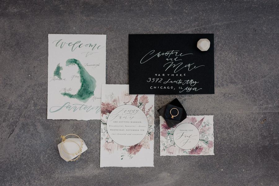 stationery wedding santorini