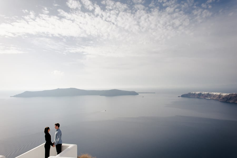 amazing view of santorini with sweet couple
