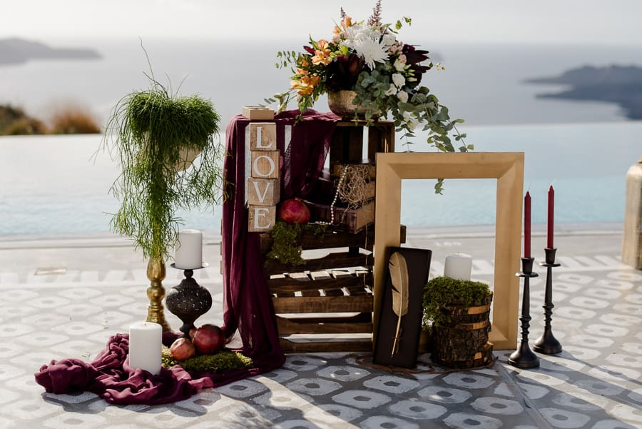 details ceremony spot wedding santorini