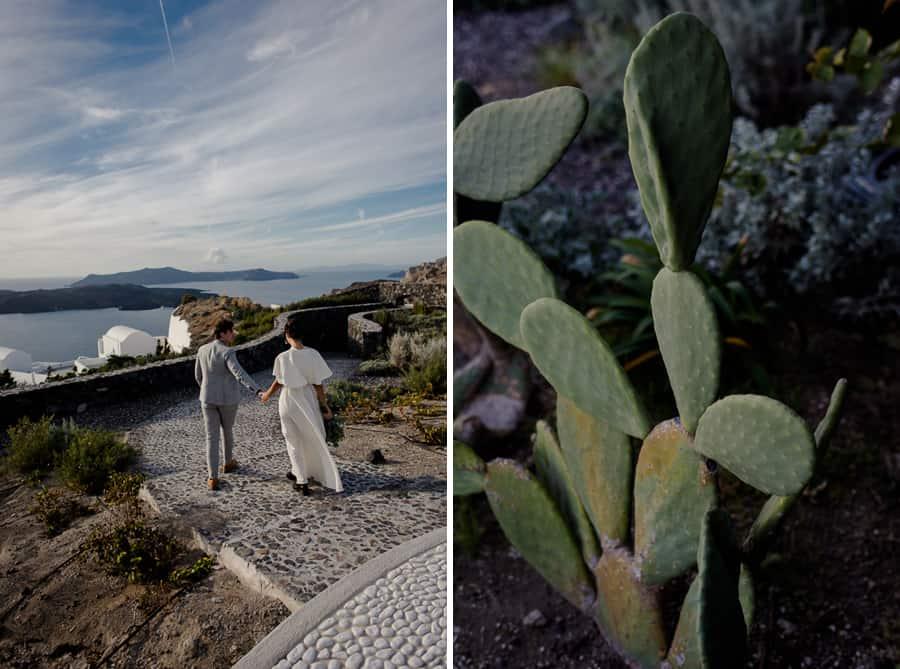 bride and groom walking eros venue santorini wedding