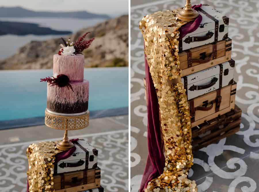detail wedding cake luggages