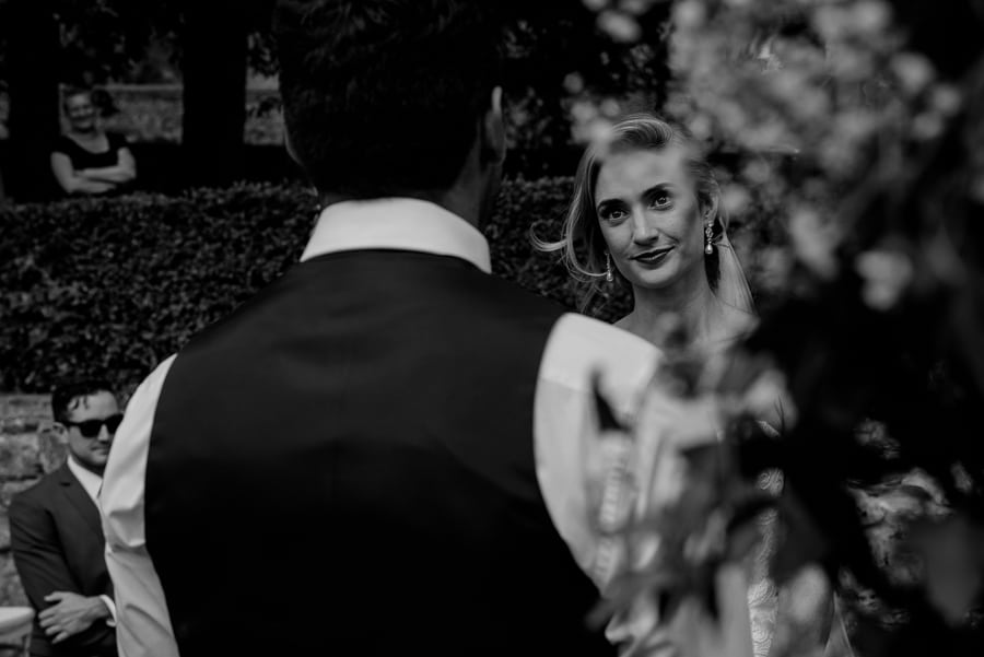 Bride portrait during wedding ceremony