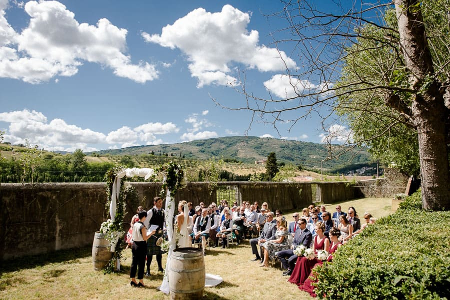 Wedding ceremony at Villa il Salicone Pistoia Tuscany