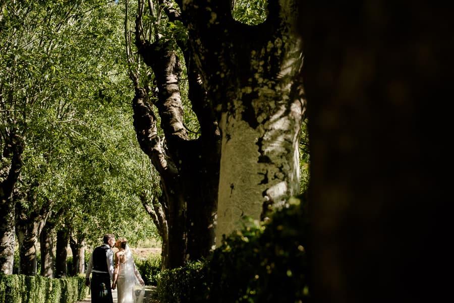 Bride and groom walking together