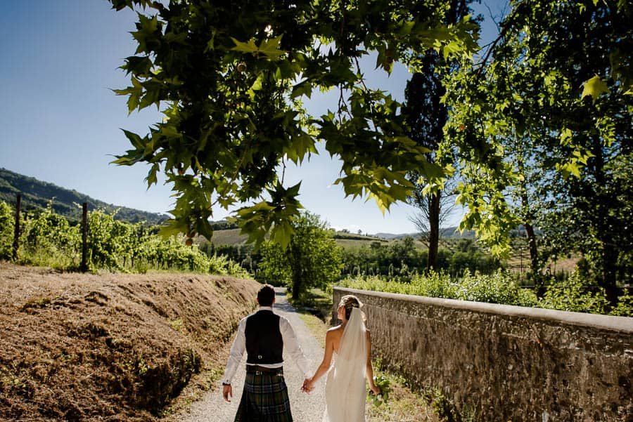 Bride and Groom in the Wineyards
