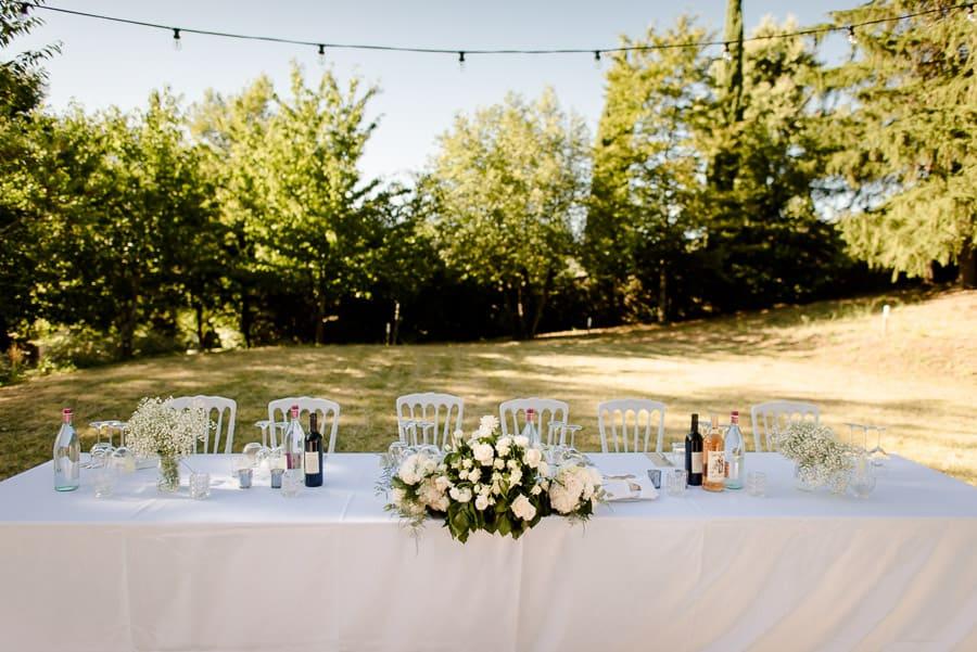 Main table receipt wedding