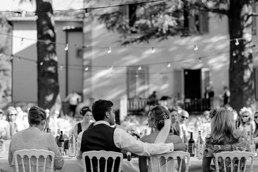 Bride and Groom at the table receipt wedding