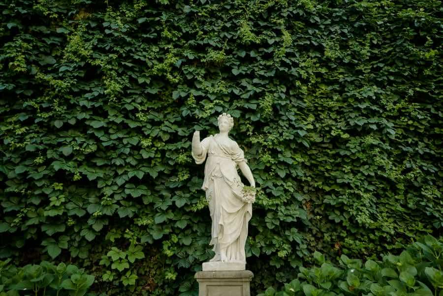 Statue inside the garden of Palazzo Pfanner in Lucca