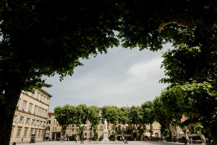 View of Piazza Napoleone in Lucca