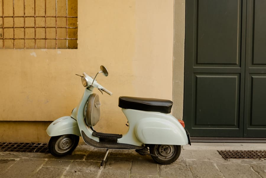 Vespa parked in Lucca