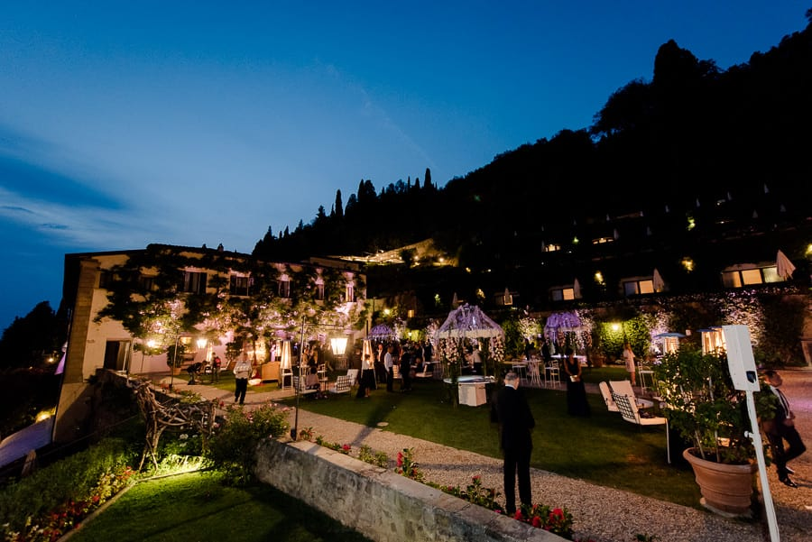 villa san michele wedding decorations by night