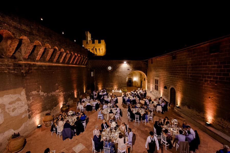 Oliveto Castle internal courtyard by night