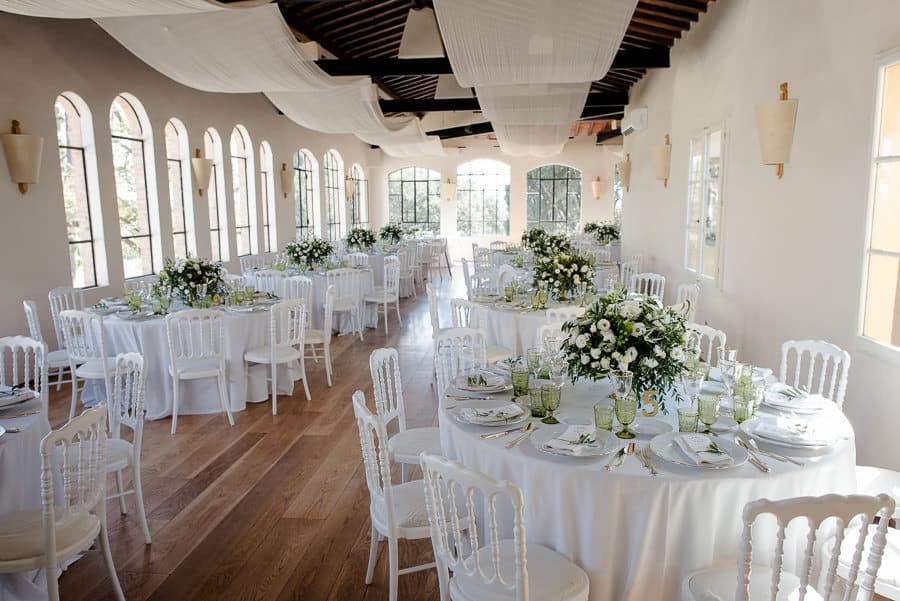 Villa Dianella wedding hall with tables